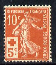 France 1914 Red Cross Fund 10c + 5c red mounted mint SG352