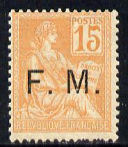 France 1901 Military Frank - FM opt'd on 15c orange unmounted mint SG M309