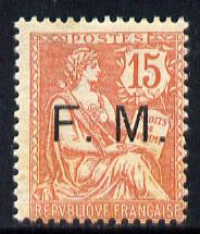 France 1903 Military Frank - FM opt'd on 15c pale red mounted mint light tone spots SG M314