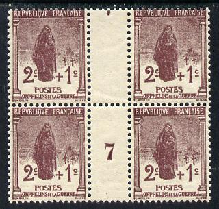 France 1917 War Orphan's Fund  2c + 1c brown-lake inter-paneau block of 4 with No.7 in gutter unmounted mint as SG 450