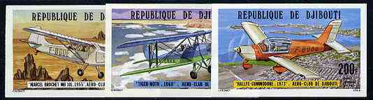 Djibouti 1978 Aero Club set of 3 imperf from limited printing, as SG 721-23*