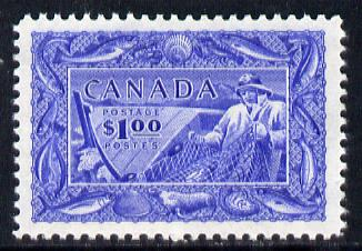 Canada 1951 Fisherman $1 ultramarine unmounted mint, SG 433