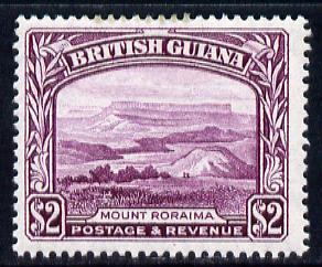 British Guiana 1938-52 KG6 Mount Roraima $2 purple P14x13 unmounted mint SG 318a