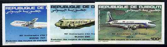 Djibouti 1983 Air France Anniversary set of 3 imperf from limited printing unmounted mint, as SG 875-77*