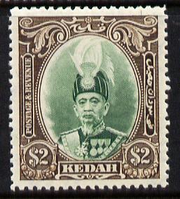 Malaya - Kedah 1937 Sultan $2 green & brown fine mounted mint SG 67