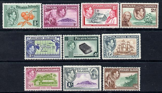 Pitcairn Islands 1940-51 KG6 definitive set complete 10 values incl scarce 4d & 8d values all unmounted mint, SG 1-8
