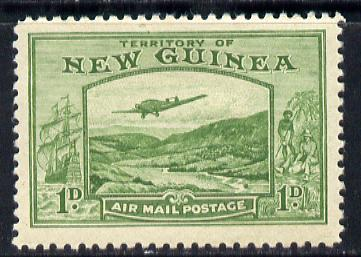 New Guinea 1939 Junkers G.31F over Bulolo Goldfields 1d green mounted mint SG 213