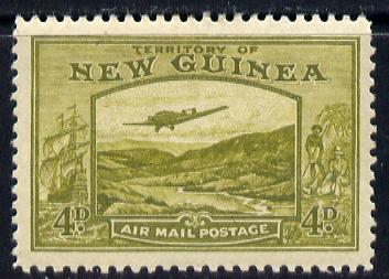 New Guinea 1939 Junkers G.31F over Bulolo Goldfields 4d yellow-olive mounted mint SG 217