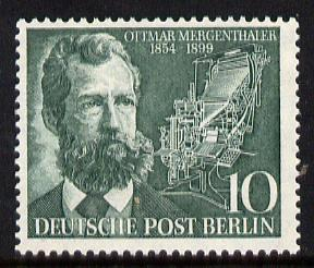 Germany - West Berlin 1954 Mergenthaler Birth Centenary 10pf (Linotype Machine Inventor) unmounted mint SG B114