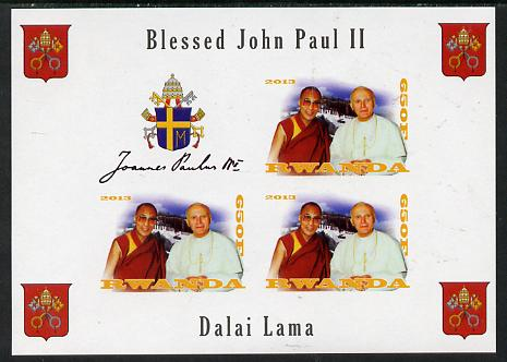 Rwanda 2013 Pope John Paul with Dalai Lama imperf sheetlet containing 3 values & label unmounted mint