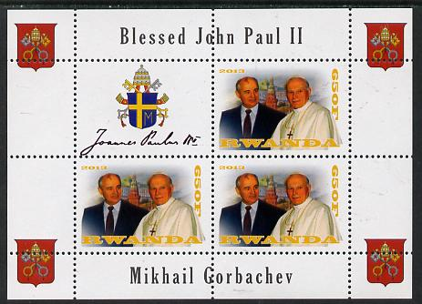 Rwanda 2013 Pope John Paul with Mikhail Gorbachev perf sheetlet containing 3 values & label unmounted mint