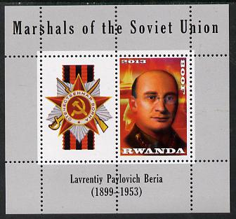 Rwanda 2013 Marshals of the Soviet Union - Lavrentiy Pavlovich Beria perf sheetlet containing 1 value & label unmounted mint