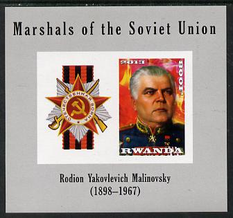 Rwanda 2013 Marshals of the Soviet Union - Rodion Yakovleyich Malinovsky imperf sheetlet containing 1 value & label unmounted mint