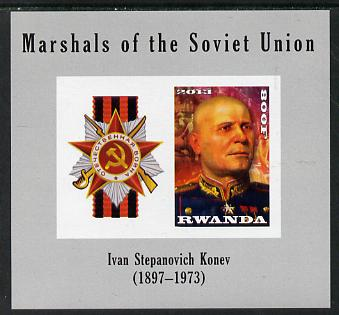 Rwanda 2013 Marshals of the Soviet Union - Ivan Stepanovich Konev imperf sheetlet containing 1 value & label unmounted mint