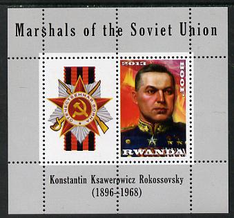 Rwanda 2013 Marshals of the Soviet Union - Konstantin Ksawerowicz Rokossovsky perf sheetlet containing 1 value & label unmounted mint