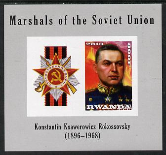 Rwanda 2013 Marshals of the Soviet Union - Konstantin Ksawerowicz Rokossovsky imperf sheetlet containing 1 value & label unmounted mint
