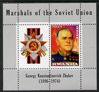 Rwanda 2013 Marshals of the Soviet Union - Georgy Konstantinovich Zhukov perf sheetlet containing 1 value & label unmounted mint