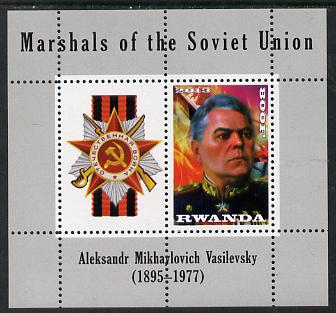 Rwanda 2013 Marshals of the Soviet Union - Aleksandr Mikhaylovich Vasilevsky perf sheetlet containing 1 value & label unmounted mint