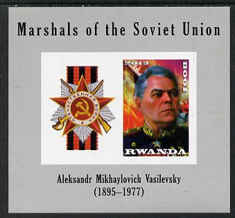 Rwanda 2013 Marshals of the Soviet Union - Aleksandr Mikhaylovich Vasilevsky imperf sheetlet containing 1 value & label unmounted mint