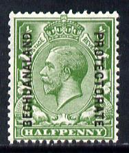 Bechuanaland 1913 opt on Great Britain KG5 0.5d green unmounted mint, SG 73