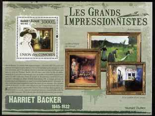 Comoro Islands 2009 Impressionists - Harriet Backer perf s/sheet unmounted mint