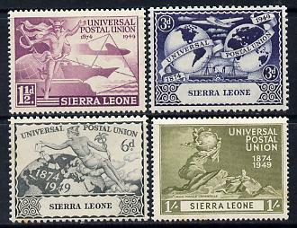 Sierra Leone 1949 KG6 75th Anniversary of Universal Postal Union set of 4 unmounted mint, SG 205-208