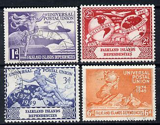 Falkland Islands Dependencies 1949 KG6 75th Anniversary of Universal Postal Union set of 4 fine cds used SG G21-4