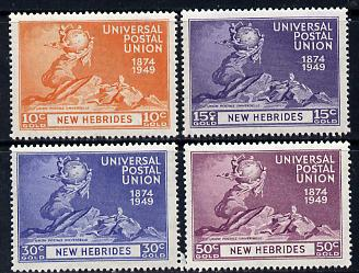 New Hebrides - English 1949 KG6 75th Anniversary of Universal Postal Union set of 4 unmounted mint, SG 64-67