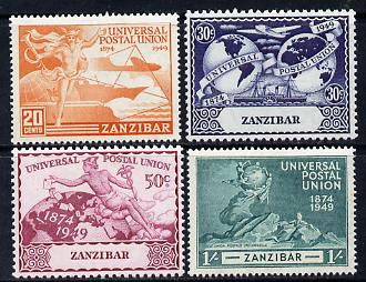 Zanzibar 1949 KG6 75th Anniversary of Universal Postal Union set of 4 unmounted mint, SG 335-8