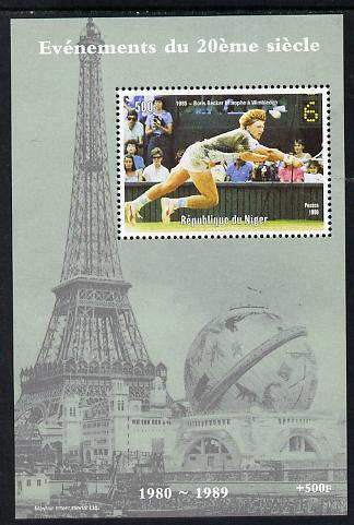 Niger Republic 1998 Events of the 20th Century 1980-1989 Boris Becker Wimbledon Champion perf souvenir sheet unmounted mint. Note this item is privately produced and is offered purely on its thematic appeal