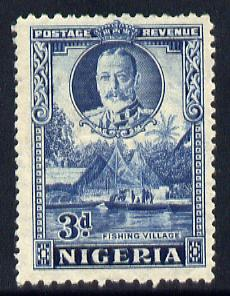 Nigeria 1936 KG5 Pictorial 3d blue mounted mint, SG 38