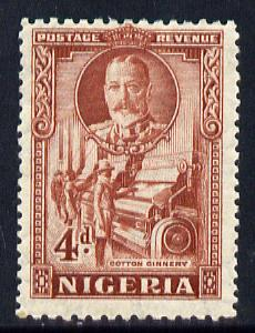 Nigeria 1936 KG5 Pictorial 4d red-brown mounted mint, SG 39