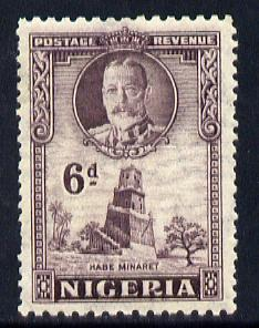 Nigeria 1936 KG5 Pictorial 6d dull violet mounted mint, SG 40