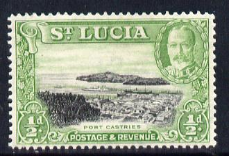 St Lucia 1936 KG5 Pictorial 1/2d black & green unmounted mint, SG 113