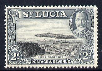 St Lucia 1936 KG5 Pictorial 2d black & grey unmounted mint, SG 116