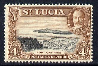 St Lucia 1936 KG5 Pictorial 4d black & red-brown unmounted mint, SG 119
