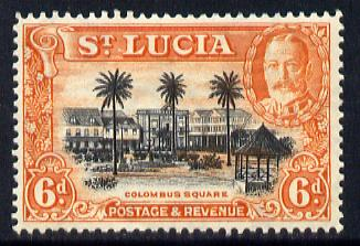St Lucia 1936 KG5 Pictorial 6d black & orange unmounted mint, SG 120