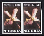 Nigeria 1993 Orchids 1n50 superb unmounted mint imperf pair as SG 665var