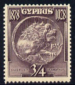 Cyprus 1928 KG5 50th Anniversary 3/4 pi dull purple mounted mint SG123