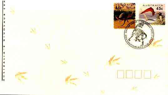 Australia 1993 Prehistoric Animals cover bearing the two self-adhesive stamps (ex coils) with special first day cancel (SG 1430-31)