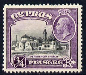 Cyprus 1934 KG5 Pictorial 3/4pi black & scarlet mounted mint SG 135