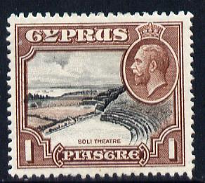 Cyprus 1934 KG5 Pictorial 1pi black & red-brown mounted mint SG 136