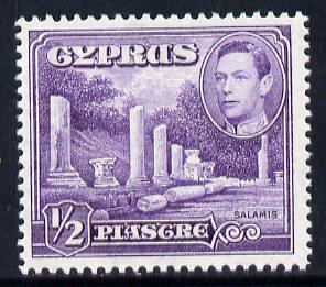 Cyprus 1938-51 KG6 Marble Forum 1/2pi violet mounted mint, SG 152a