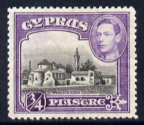 Cyprus 1938-51 KG6 Church of St Barnabas 3/4pi black & violet mounted mint, SG 153
