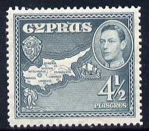 Cyprus 1938-51 KG6 Map 4.5pi grey mounted mint, SG 157