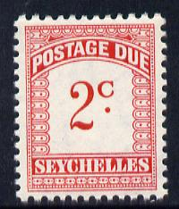 Seychelles 1964-65 Postage Due 2c red & carmine wmk Block CA unmounted mint, SG D9