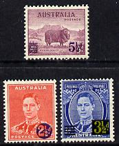 Australia 1941 KG6 surcharged set of 3 unmounted mint, SG 200-202