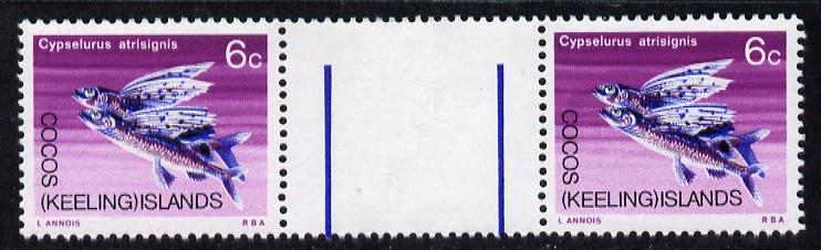 Cocos (Keeling) Islands 1969 Flying Fish 6c value inter-paneau gutter pair unmounted mint folded through gutter SG 13