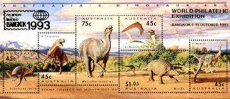 Australia 1993 Prehistoric Animals m/sheet containing complete set of 6, overprinted for Bangkok '93, see note after SG MS 1429 unmounted mint