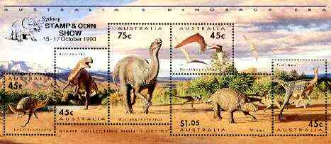 Australia 1993 Prehistoric Animals m/sheet containing complete set of 6, overprinted for Sydney Stamp & Coin Show, see note after SG MS 1429 unmounted mint